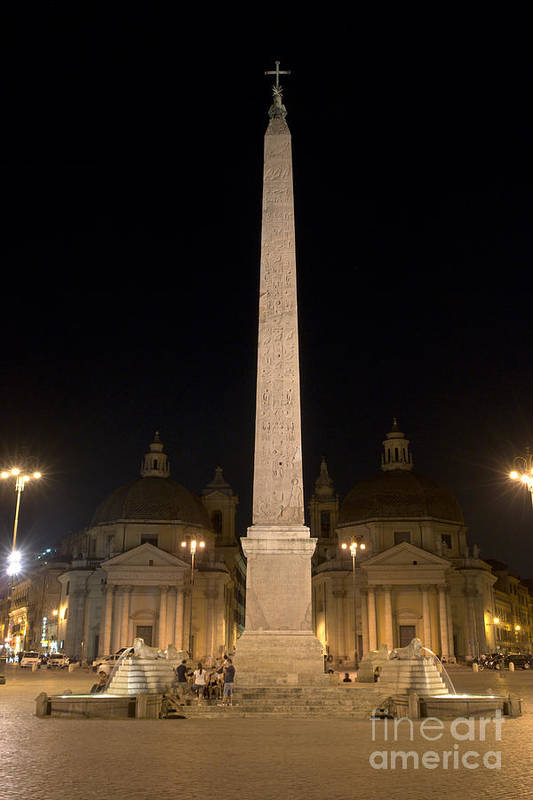 Obelisco Poster featuring the photograph Obelisco Flaminio And Twin Churches By Night by Fabrizio Ruggeri