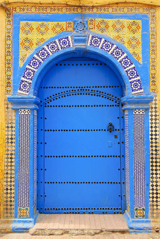 Vertical Poster featuring the photograph Ornate Moroccan Doorway, Essaouira, Morocco, Middle East, North Africa, Africa by Andrea Thompson Photography