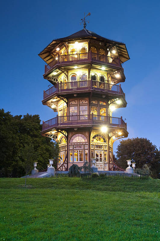 Patterson Park Pagoda Baltimore Maryland Historic Architecture Light Color Building Obervatory Observation Tower Windows Japanese Landmark Highlandtown Nature Conservation Victorian Old Twilight Color Latrobe Poster featuring the photograph Patterson Park Pagoda. Baltimore Maryland by Matthew Saindon