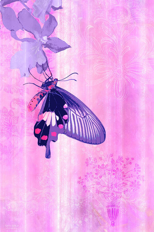 Butterfly Poster featuring the painting Pink And Purple Companions 1 by JQ Licensing