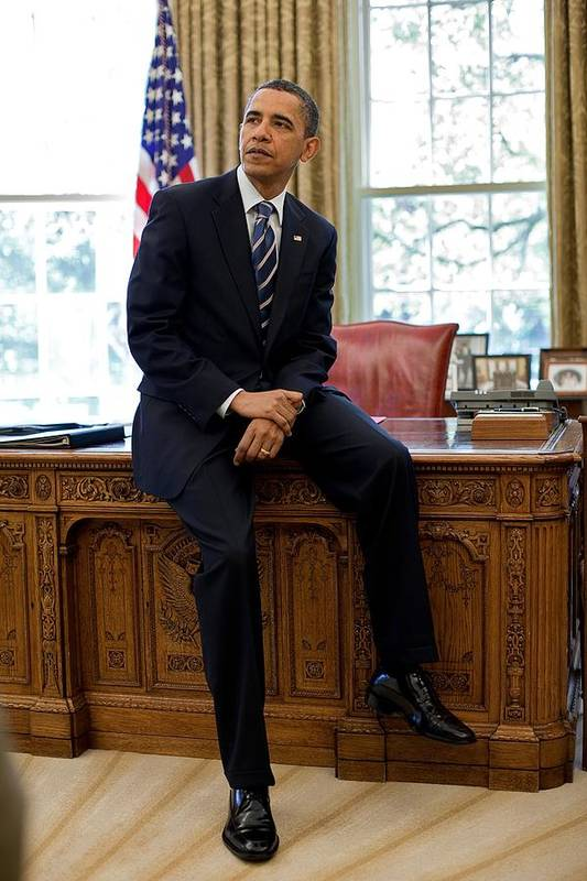 History Poster featuring the photograph President Barack Obama Sits On The Edge by Everett