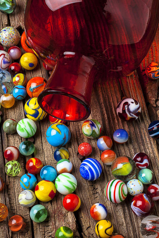 Red Jar Poster featuring the photograph Red Jar With Marbles by Garry Gay