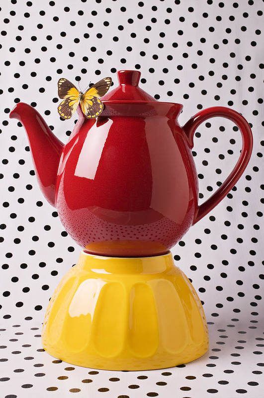 Yellow Poster featuring the photograph Red Teapot With Butterfly by Garry Gay