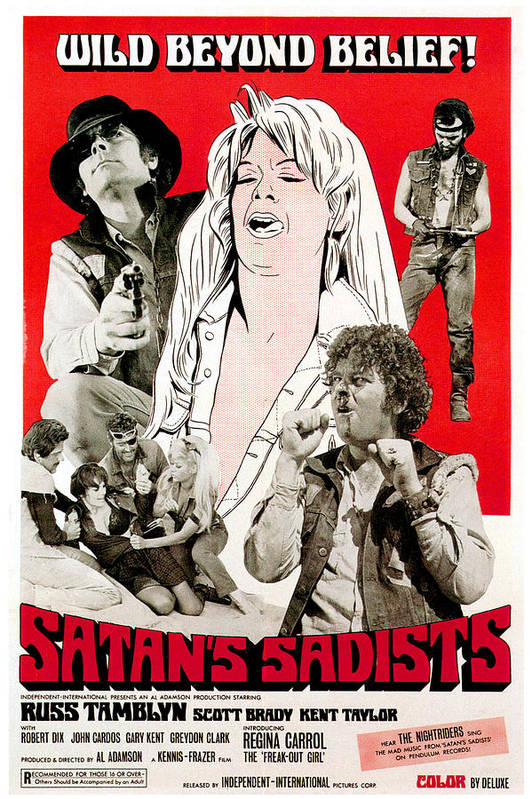 1960s Movies Poster featuring the photograph Satans Sadists, Russ Tamblyn Bottom by Everett