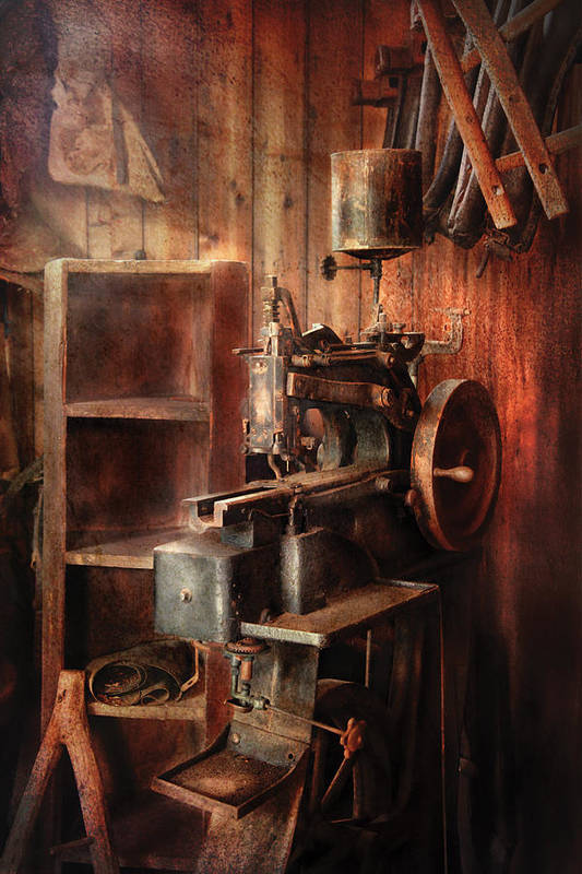 Savad Poster featuring the photograph Sewing - Sewing Machine For Saddle Making by Mike Savad