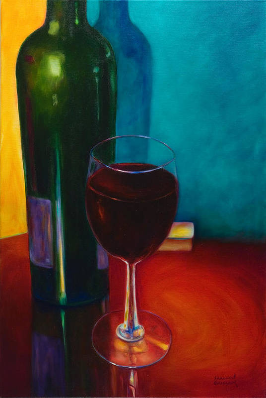 Wine Bottle Poster featuring the painting Shannon's Red by Shannon Grissom