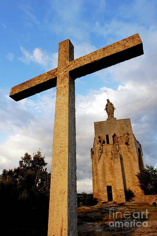 Christ Poster featuring the photograph Stone Crucifix by Sami Sarkis