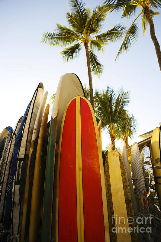 Afternoon Poster featuring the photograph Surfboards At Waikiki by Dana Edmunds - Printscapes