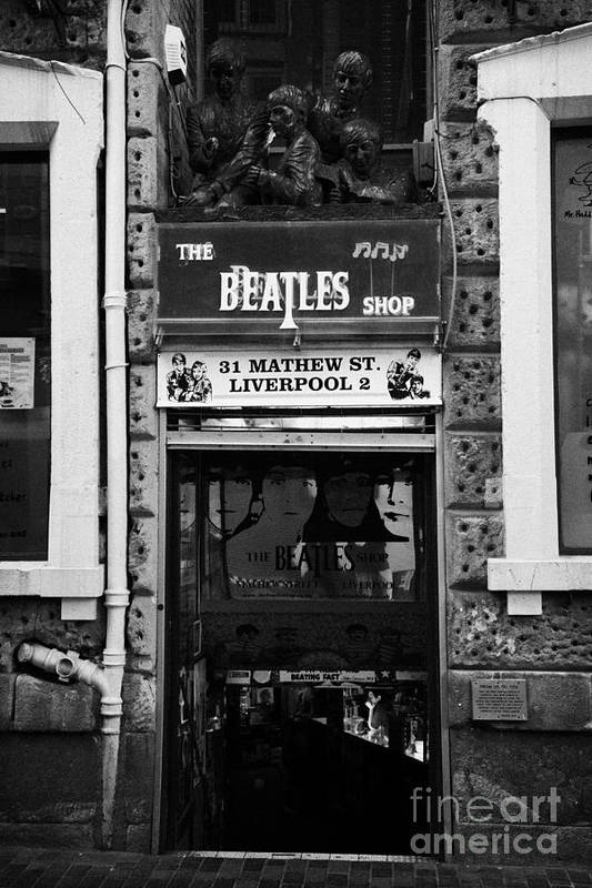 Mathew Poster featuring the photograph The Beatles Shop In Mathew Street In Liverpool City Centre Birthplace Of The Beatles Merseyside by Joe Fox