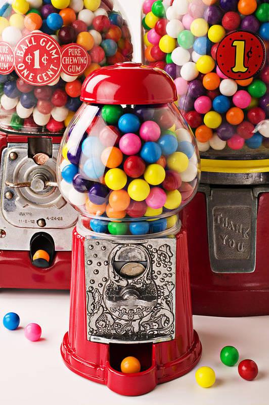 Gum; Bubble Gum; Machine; Vendor; Old Fashion; Antique Poster featuring the photograph Three Bubble Gum Machines by Garry Gay