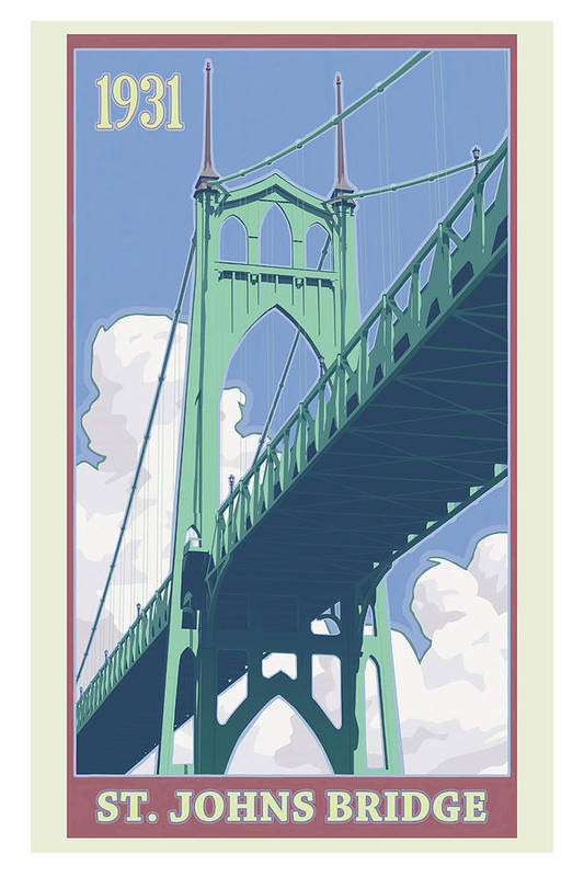 Oregon Poster featuring the digital art Vintage St. Johns Bridge Travel Poster by Mitch Frey