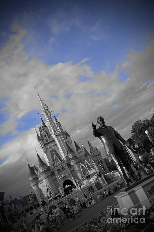 Walt Disney World Cinderella Castle Magic Kingdom Partners Statue Black And White Blue Sky Poster featuring the pyrography Walt Disney World - Partners Statue by AK Photography