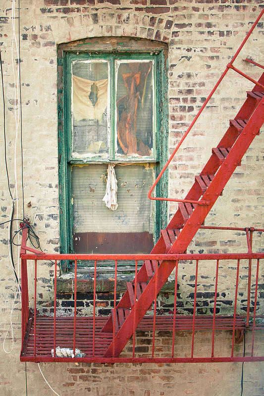 Windows Poster featuring the photograph Window And Red Fire Escape by Gary Heller