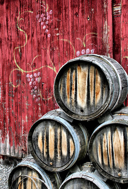 Wine Poster featuring the photograph Wine Barrels by Doug Hockman Photography