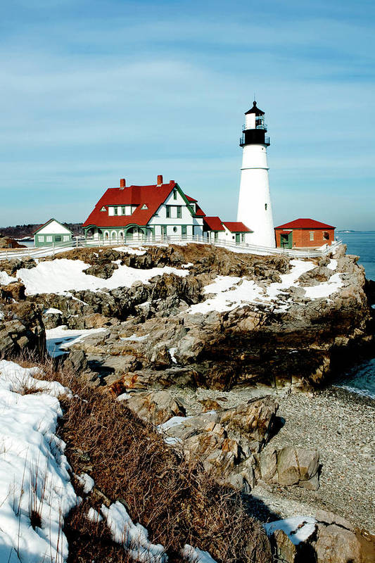 Coast Poster featuring the photograph Winter At Portland Head by Greg Fortier