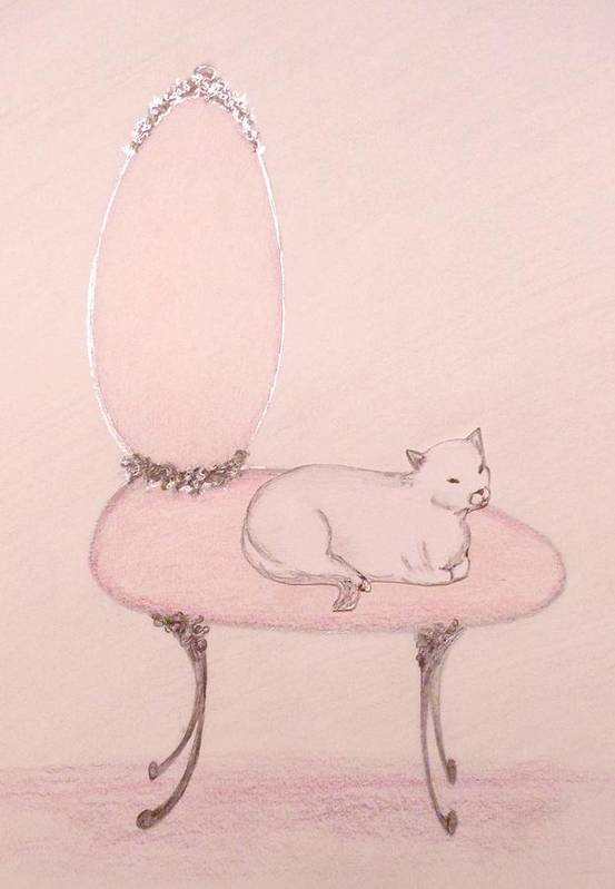 Cats And Animals And Nature Poster featuring the drawing Cat On A Vanity Chair by Christine Corretti