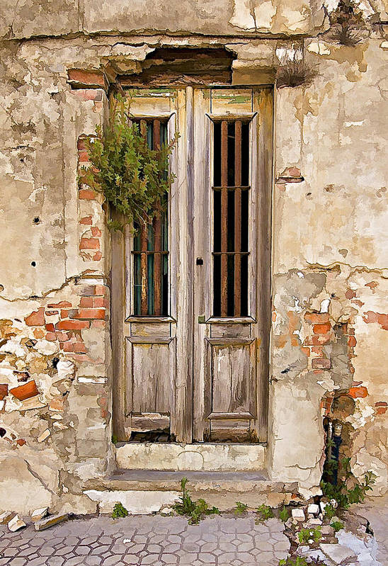 Brick Poster featuring the photograph Dilapidated Brown Wood Door Of Portugal by David Letts