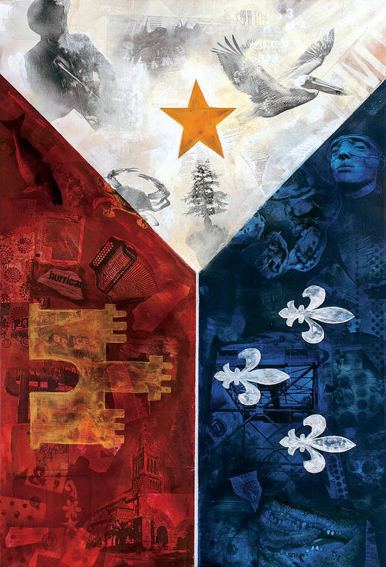 Cajun Poster featuring the mixed media Drapeau Du Acadie by Giorgio Russo