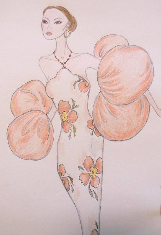 Haute Couture Poster featuring the drawing Orange Organza by Christine Corretti