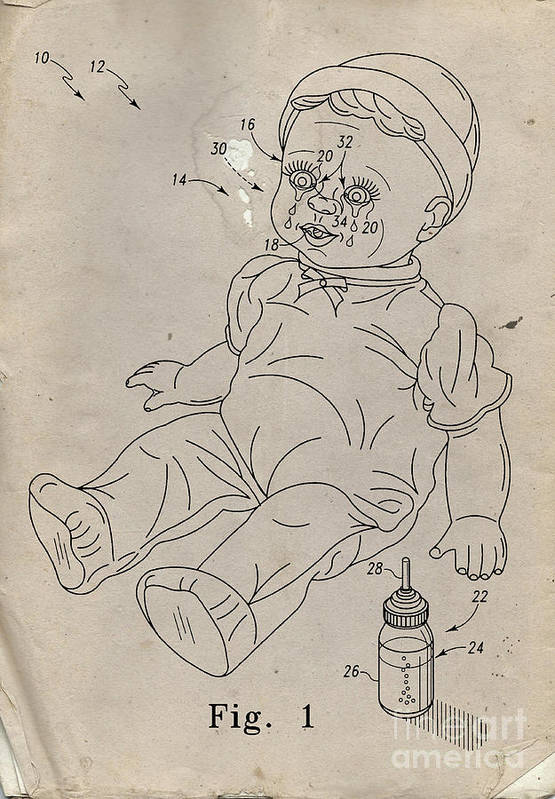 Invention Poster featuring the drawing Patent For Crying Baby Doll by Edward Fielding