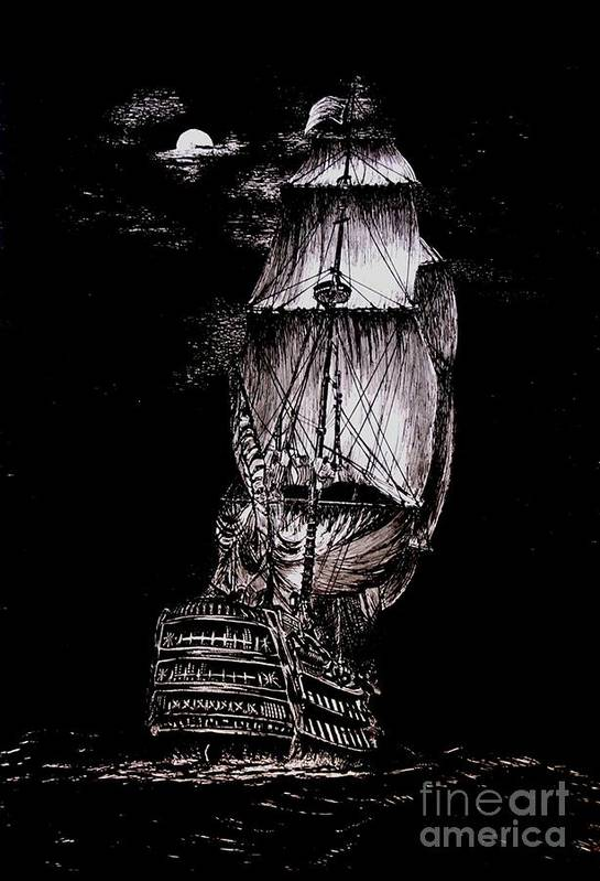 Original Poster featuring the drawing Pen And Ink Drawing Of Ghost Boat In Black And White by Mario Perez