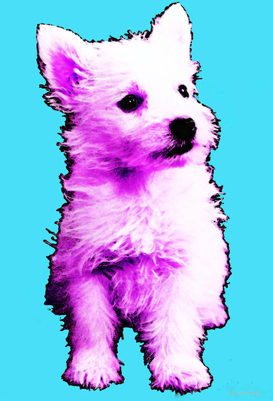 Westie Poster featuring the painting Pink Westie - West Highland Terrier Art By Sharon Cummings by Sharon Cummings