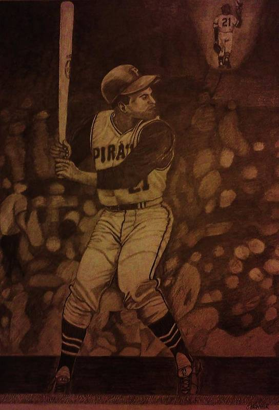Roberto Clemente Poster featuring the drawing Roberto Clemente by Christy Saunders Church