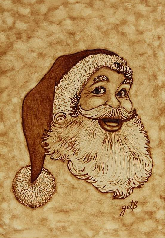 Santa Coffee Art Poster featuring the painting Santa Claus Joyful Face by Georgeta Blanaru