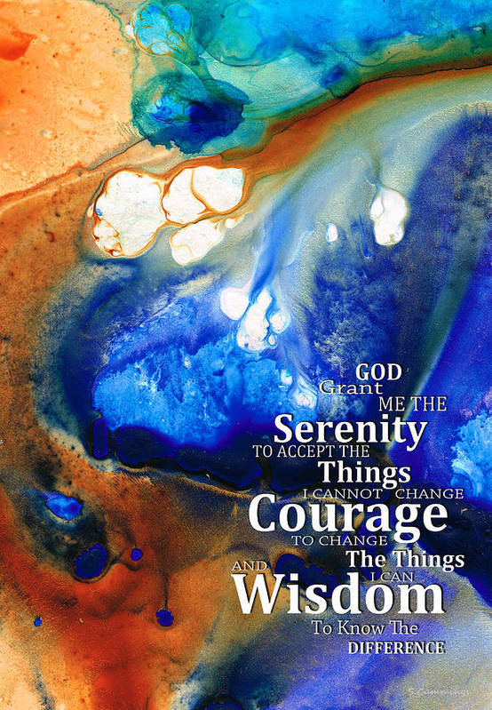 Serenity Prayer Poster featuring the painting Serenity Prayer 4 - By Sharon Cummings by Sharon Cummings