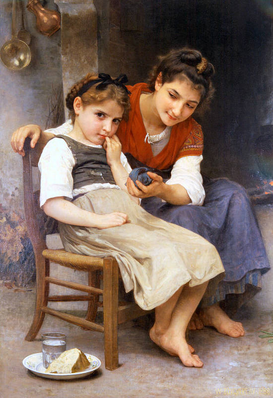 The Little Sulk Poster featuring the digital art The Little Sulk by William Bouguereau