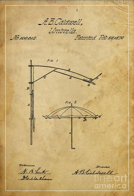 Umbrella Poster featuring the mixed media Umbrella Patent - A.b. Caldwell by Pablo Franchi
