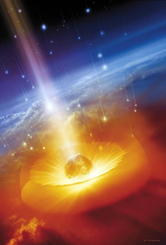 Earth Poster featuring the photograph Asteroid Impacting The Earth, Artwork by Detlev Van Ravenswaay
