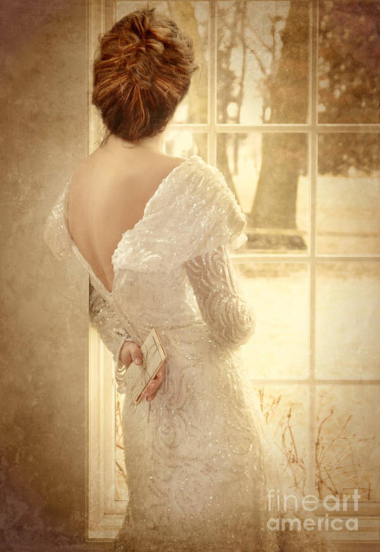 Beautiful Poster featuring the photograph Beautiful Lady In Sequin Gown Looking Out Window by Jill Battaglia