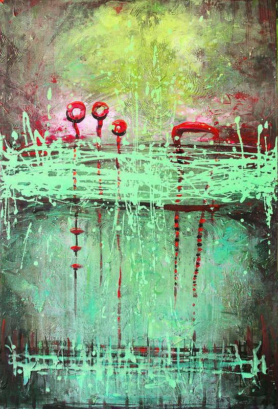 Abstract Poster featuring the painting Green Splashes by Lolita Bronzini