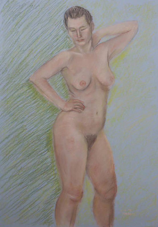 Nude Poster featuring the pastel Nude Study by Masami Iida