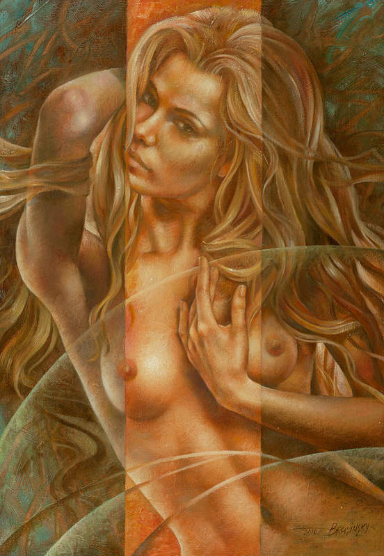 Nudes Poster featuring the painting Gracia3 by Arthur Braginsky