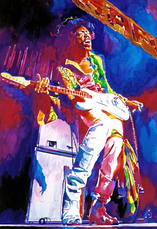 Jimi Hendrix Poster featuring the painting Jimi Hendrix - The Ultimate by David Lloyd Glover