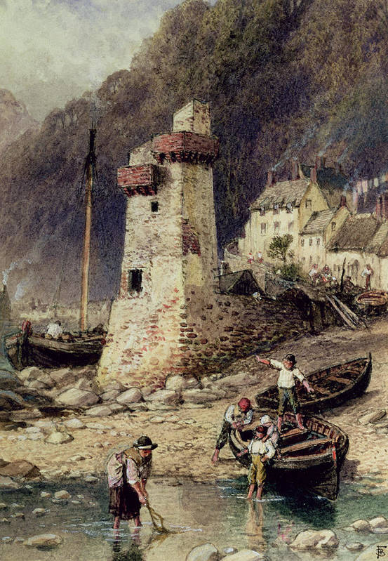 Lynmouth Poster featuring the painting Lynmouth In Devonshire by Myles Birket Foster