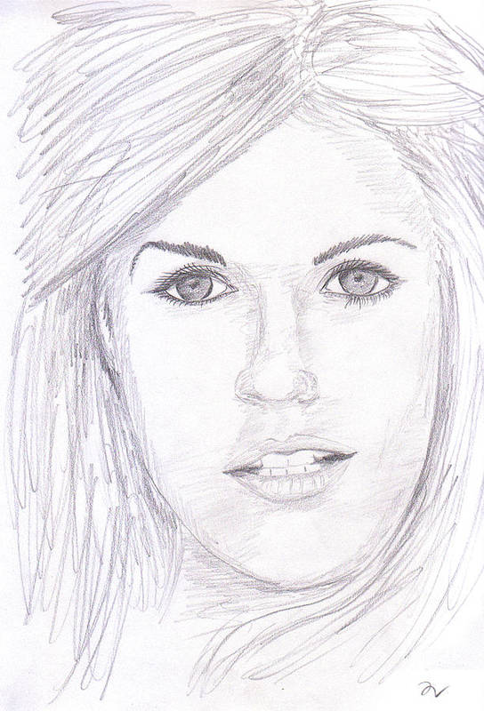 Graphite Poster featuring the drawing Model With Blond Hair by M Valeriano