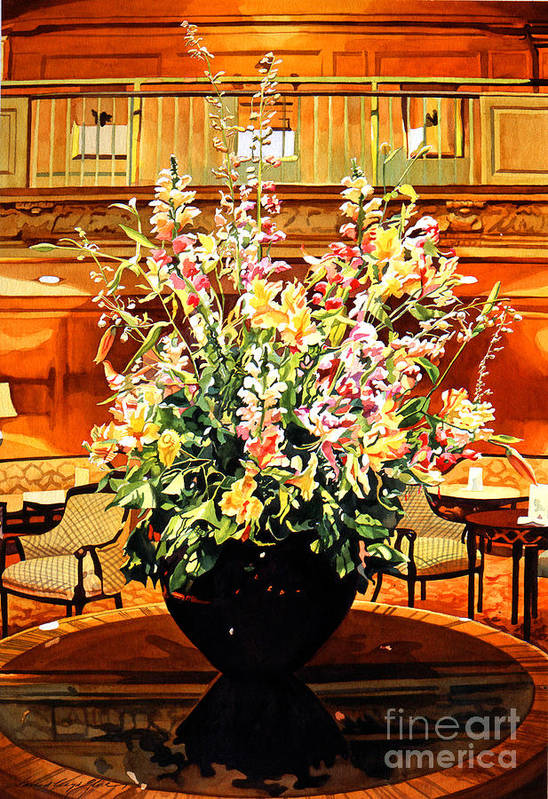 Flower Arrangements Poster featuring the painting Olympic Grandeur by David Lloyd Glover