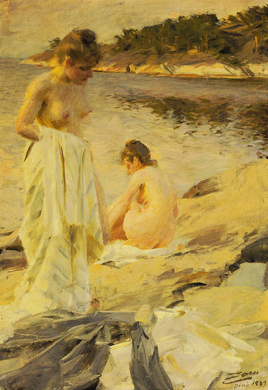 Nude Poster featuring the painting The Bathers by Anders Leonard Zorn