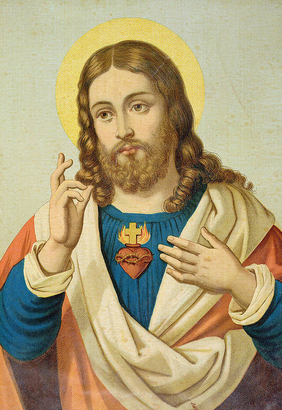 The Poster featuring the painting The Sacred Heart by French School