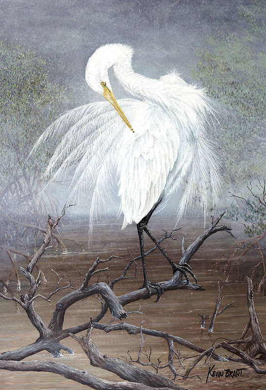 Egret Poster featuring the painting White Egret by Kevin Brant