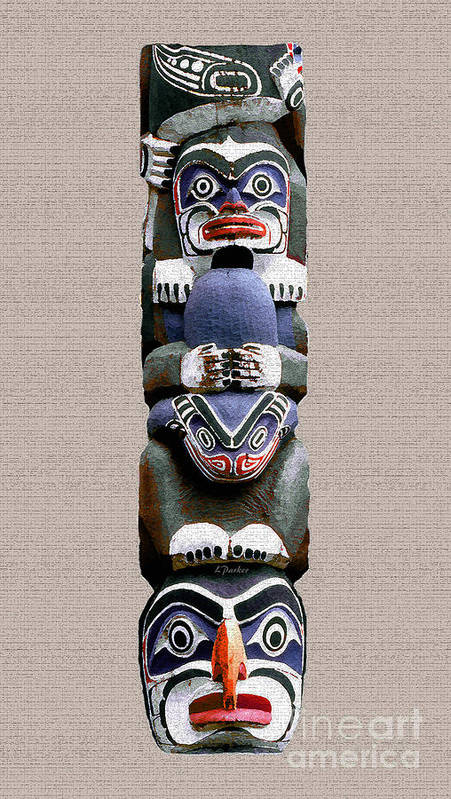Eskimo Poster featuring the photograph Vancouver Totem - 2 by Linda Parker