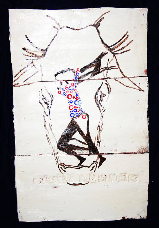 Jesus Poster featuring the ceramic art Dinka Dance - South Sudan by Gloria Ssali