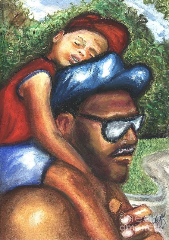 Father And Son Poster featuring the mixed media All Tuckered Out by Alga Washington