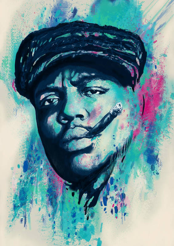 Biggie Smalls Colour Drawing Art Poster - Pop Art Poster featuring the drawing Biggie Smalls Modern Art Drawing Poster by Kim Wang