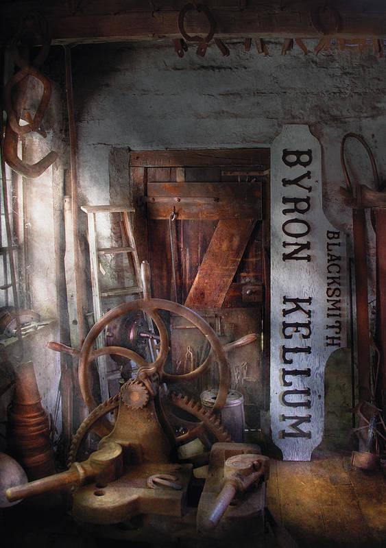Savad Poster featuring the photograph Black Smith - Byron Kellum Blacksmith by Mike Savad