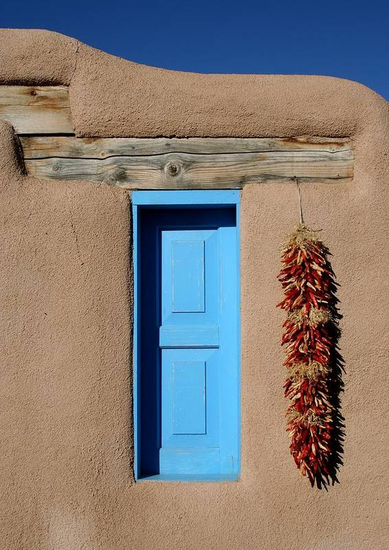 Taos Poster featuring the photograph Blue Window Of Taos by Heidi Hermes