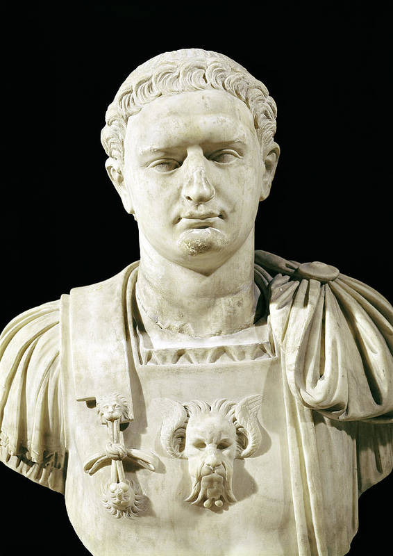 Flavius Poster featuring the sculpture Bust Of Emperor Domitian by Anonymous